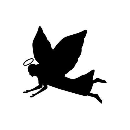 black silhouette design of angel flying down,vector illustration 矢量图像