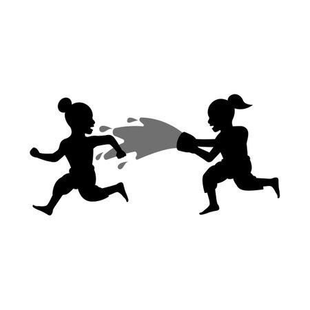 black silhouette design of children playing water in songkran festival,vector illstration 矢量图像