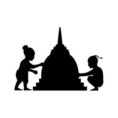 black silhouette design with isolated white background of children building sand pagoda,vector illstration