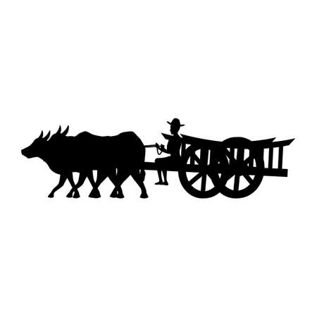 black silhouette design with isolated white background of man riding cow cart,vector illustration