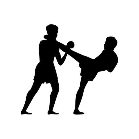 black silhouette design of martial arts of thailand called muay thai,vector illustration 矢量图像