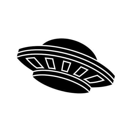 Cartoon version design of UFO in black silhouette,vector illustration 矢量图像