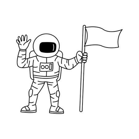 Cartoon version design of astronaut holding flag and raising hand,vector illustration