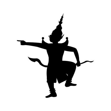 black silhouette design of king of giant point finger with angry,vector illustration