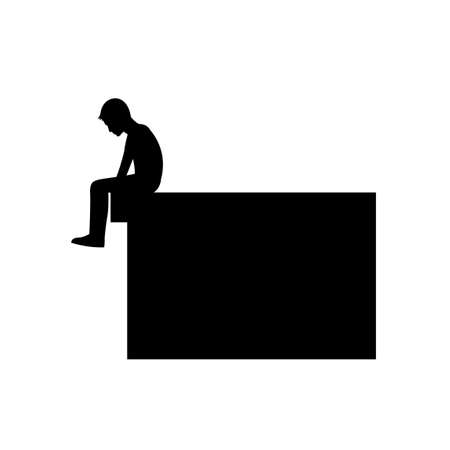 black silhouette design of man sit on the edge of the top of the floor,vector illustration 矢量图像