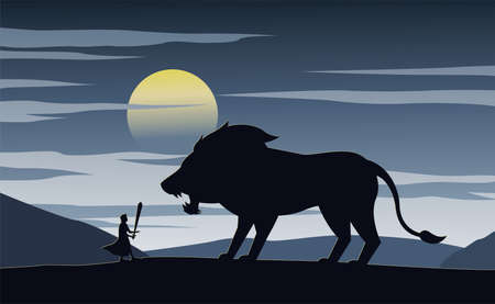 Silhouette of fiction with knight and lion,vector illustration