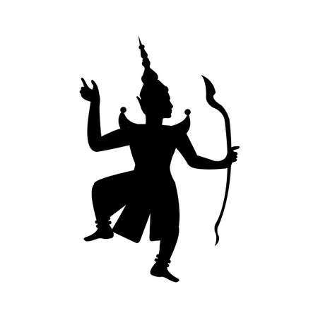 black silhouette design of rama king shooting arrow in thai design,vector illustration 矢量图像