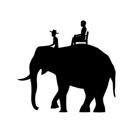 black silhouette design of men sitting on elephant back,vector illustration