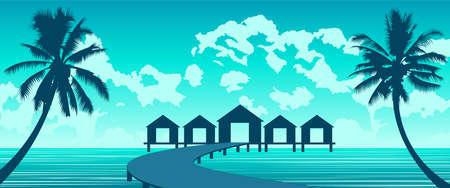 Silhouette art of paradise sea of Maldives,vector illustration
