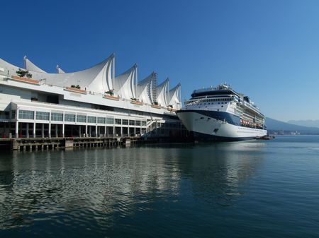 Cruise ship in the port of Vancouver photo