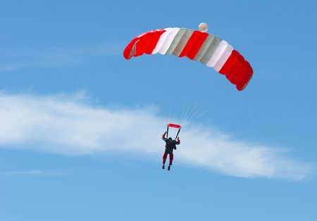 Skydiver floating on the wind