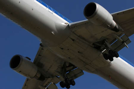 underbelly: undrcarriage of jet plane Stock Photo