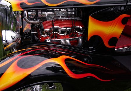 Engine bay and flame paint job on hot rod Stok Fotoğraf - 868538