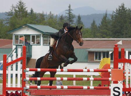 馬とライダーを取ってジャンプ ローカル障害飛越競技大会で