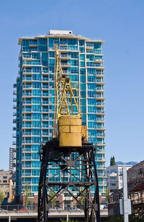 residental: new construction with old crane in the foreground