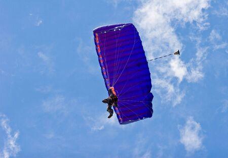 Parachutist riding the wind