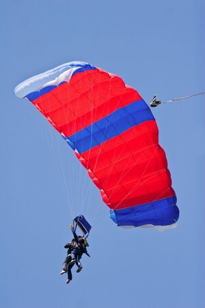 tandem skydivers floating on the wind