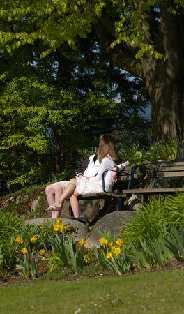 人気モデル ・ ヨンア愛好家の公園のベンチ