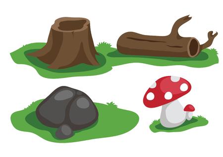 timber: timber, stump, stone and mushroom vector cartoon Illustration