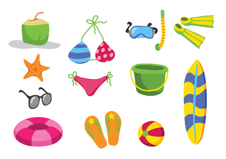 snorkle: beach toys vector cartoon Illustration