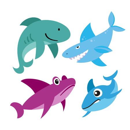 sharks vector collection design, marine life vector collection design, ocean animals vector design 向量圖像