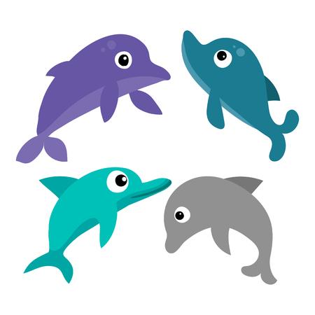 dolphin vector collection design, marine life vector collection design, ocean animals vector design