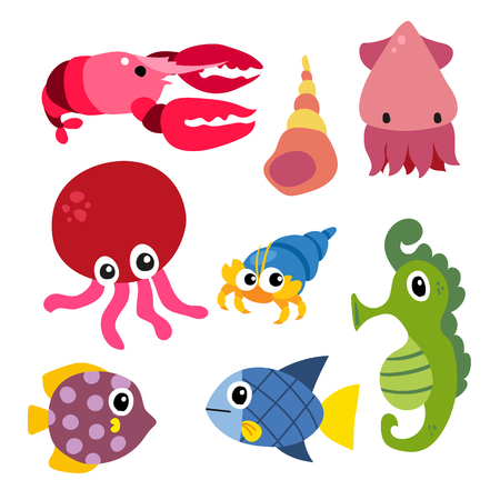 marine life vector collection design, sea animals vector design