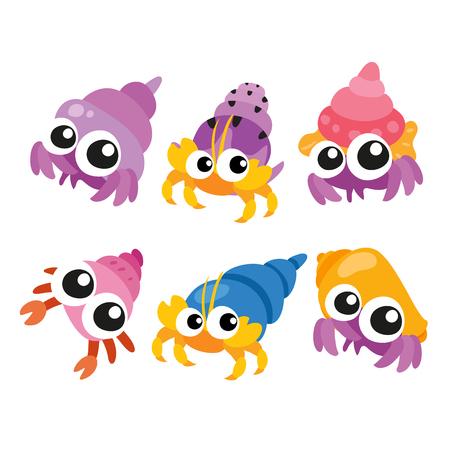 hermit crab vector collection design, crab character vector design