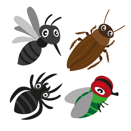 insect character vector design, insect vector collection design 矢量图像