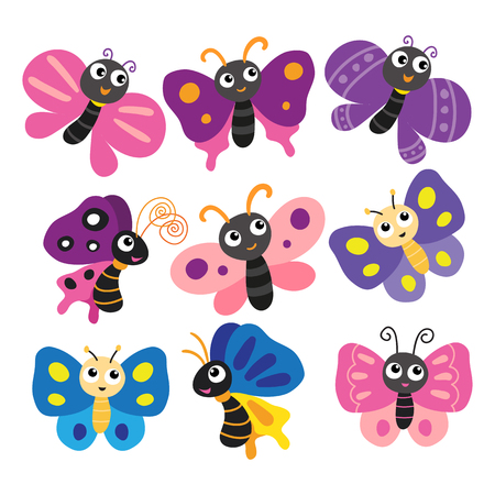 butterfly character vector design, butterfly vector collection design