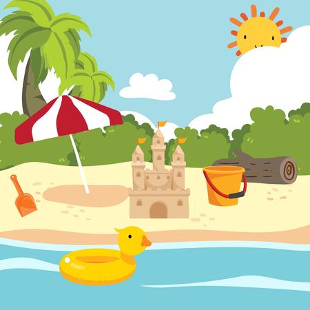 beach toy vector collection design, background vector design