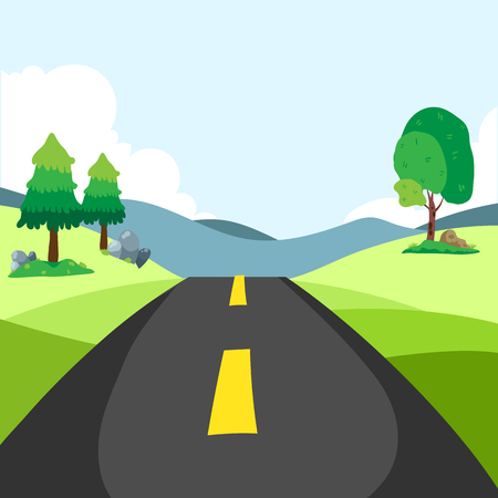 highway drive with beautiful sunrise landscape. Travel road car view. mountains horizon. vector illustration in flat design
