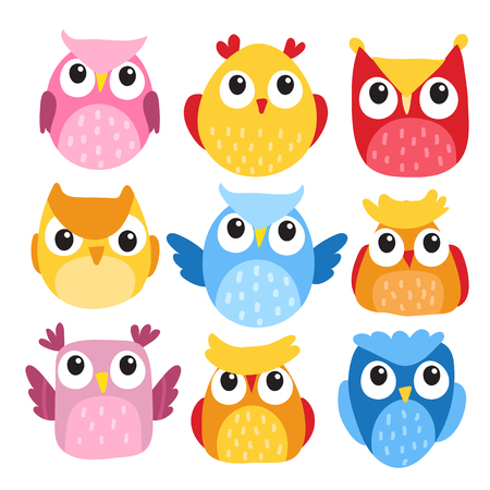 owl character vector design, owl vector collection design