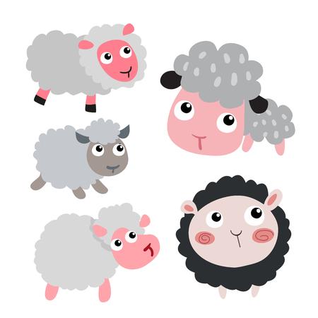 sheep character vector design, sheep vector collection design