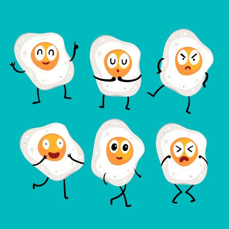 fried egg character vector design, egg character vector design 向量圖像