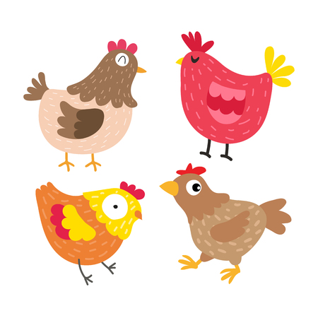 chicken vector collection design, poultry vector collection design 向量圖像