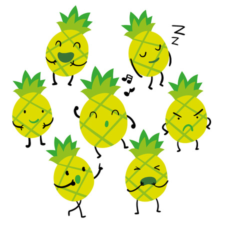 pineapple character vector design, pineapple vector collection design 矢量图像