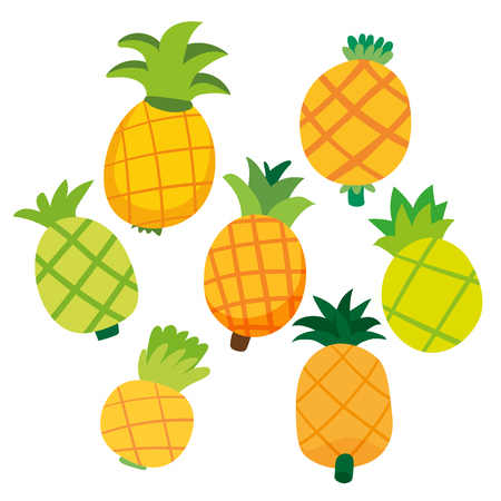 pineapple vector collection design, fruits collection, food collection, food healthy set