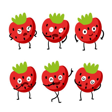 strawberry character vector design, strawberry vector collection design