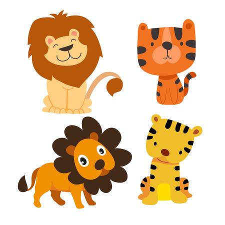 tiger and lion character vector design, animals vector collection design 矢量图像