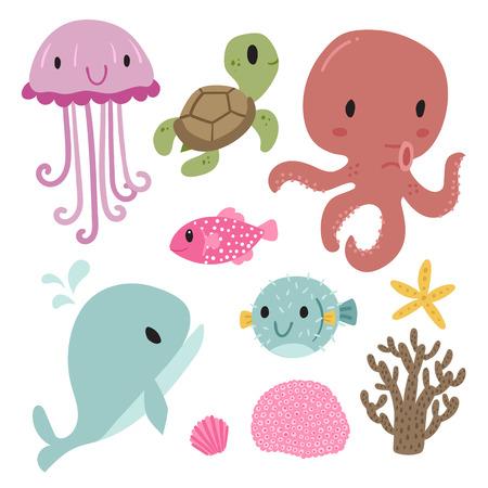 wildlife vector collection design, sea vector collection Illustration
