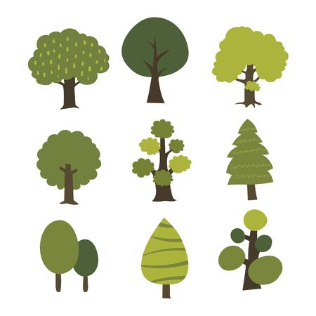 tree vector collection design, nature vector design Illustration