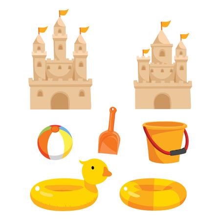 beach toysvector collectiong design, sea vector collectiong design, ocean vector design 向量圖像