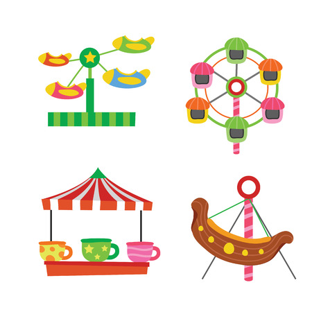 amusement vector collection design, amusement vector set, funfair vector design Stock Illustratie