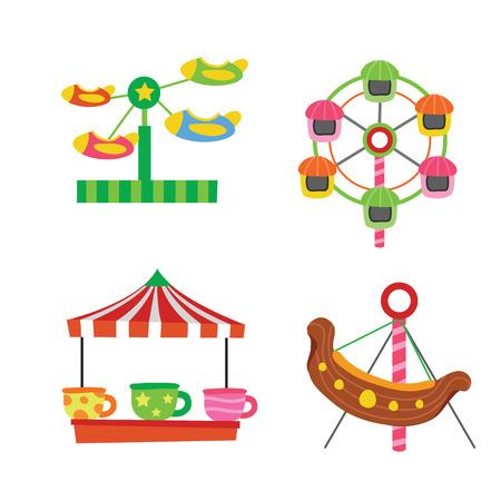amusement vector collection design, amusement vector set, funfair vector design Illustration