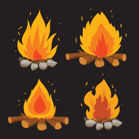disegno di raccolta vettoriale di fuoco, disegno di raccolta vettoriale di falò