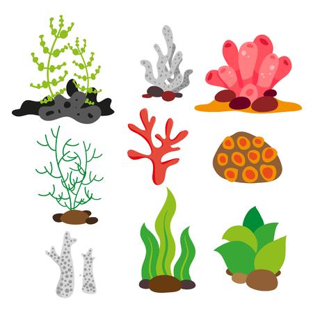 Korallenvektorsammlungsdesign, Meerpflanzenvektorsammlungsdesign Vektorgrafik