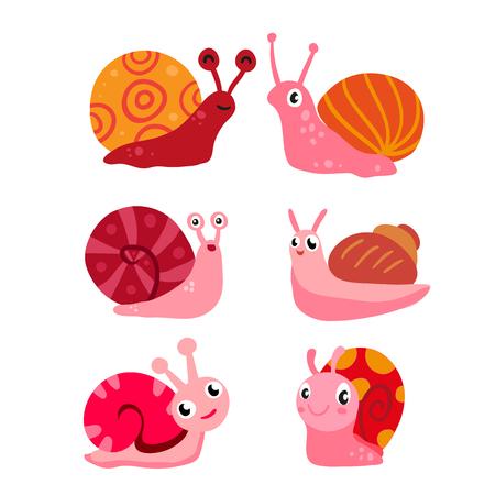 snail vector collection design, snail character vector design