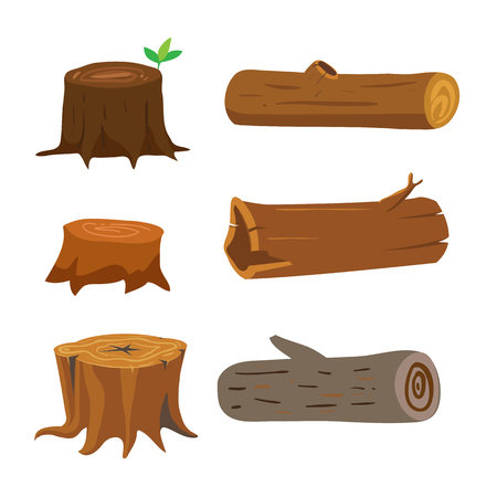 wood vector collection design, stump vector collection design Illustration