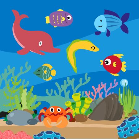 ocean background vector design, sea background vector design  イラスト・ベクター素材